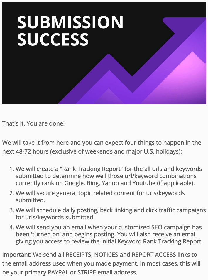 Backlink Building Work Order Submission Complete