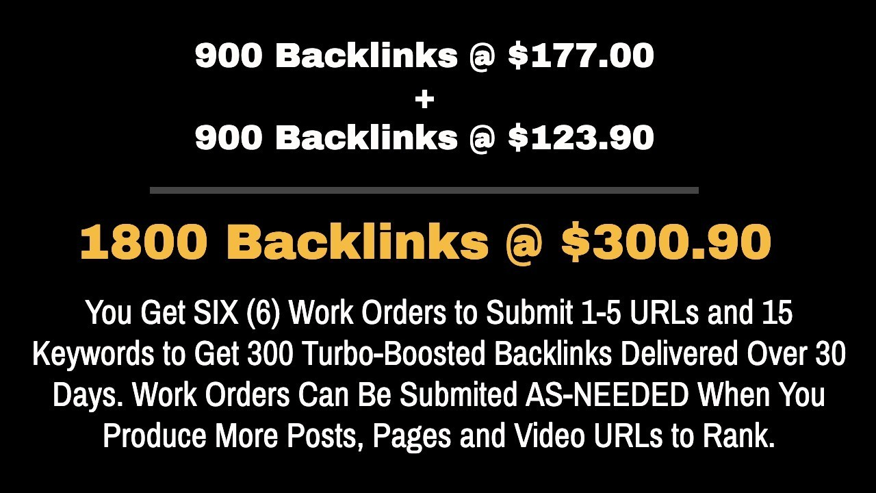 Turbo Boosted Backlinks Upgrade Offer