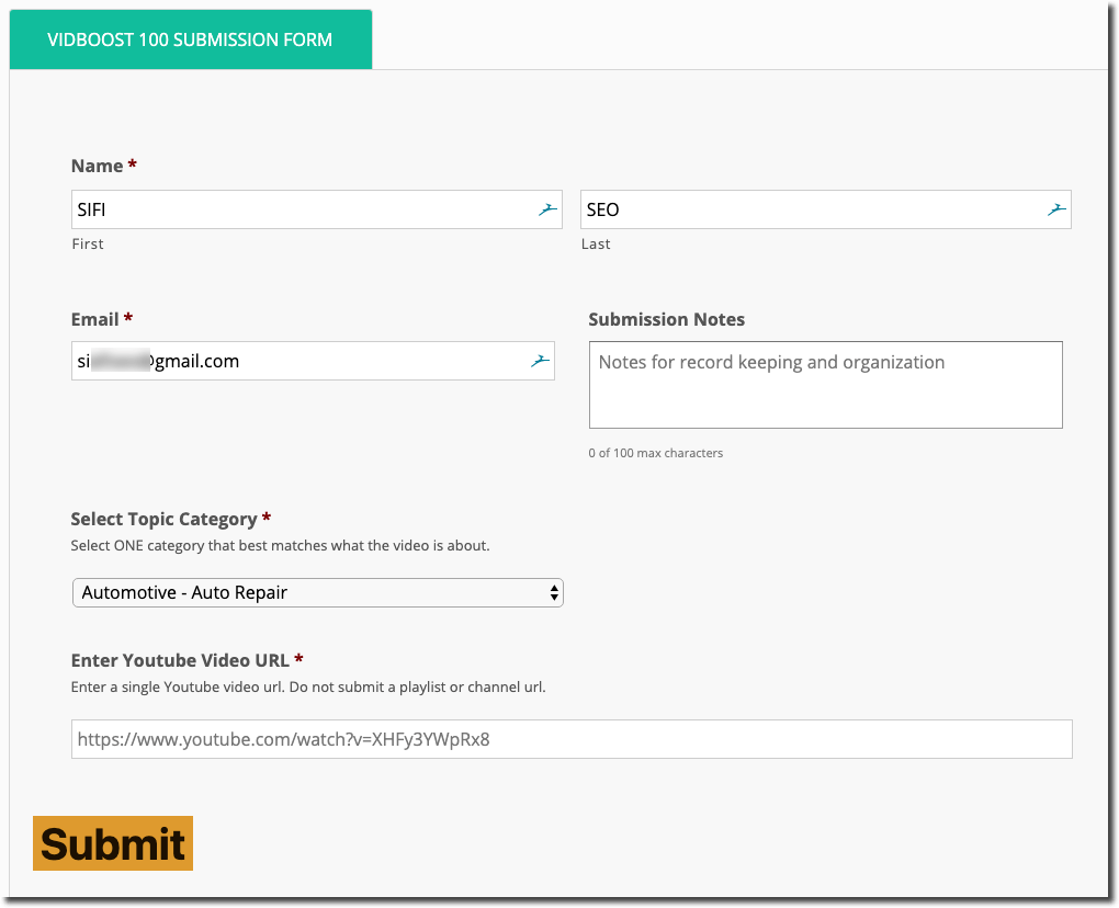 VIDBOOST 100 Submission Form